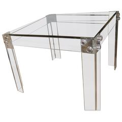 Square Lucite and Chrome Peg Dining or Game Table Vintage Hollywood Regency