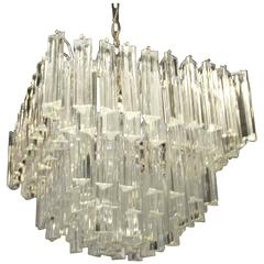 Murano Camer Italy Glass Chandelier Chrome, Five-Tier