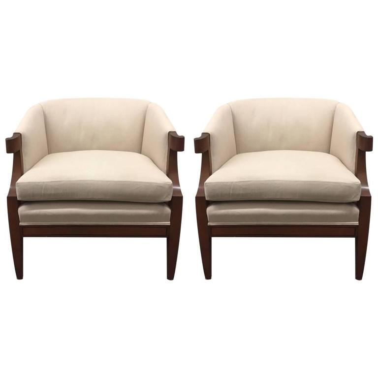 Pair of Curved Armchairs by Baker