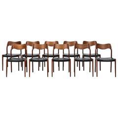 Niels O. Møller set of 10 dining chairs by J.L Møllers møbelfabrik in Denmark