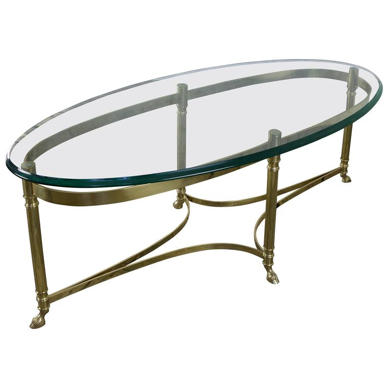Italian Oval Brass And Glass Coffee Table, 1940s At 1stdibs