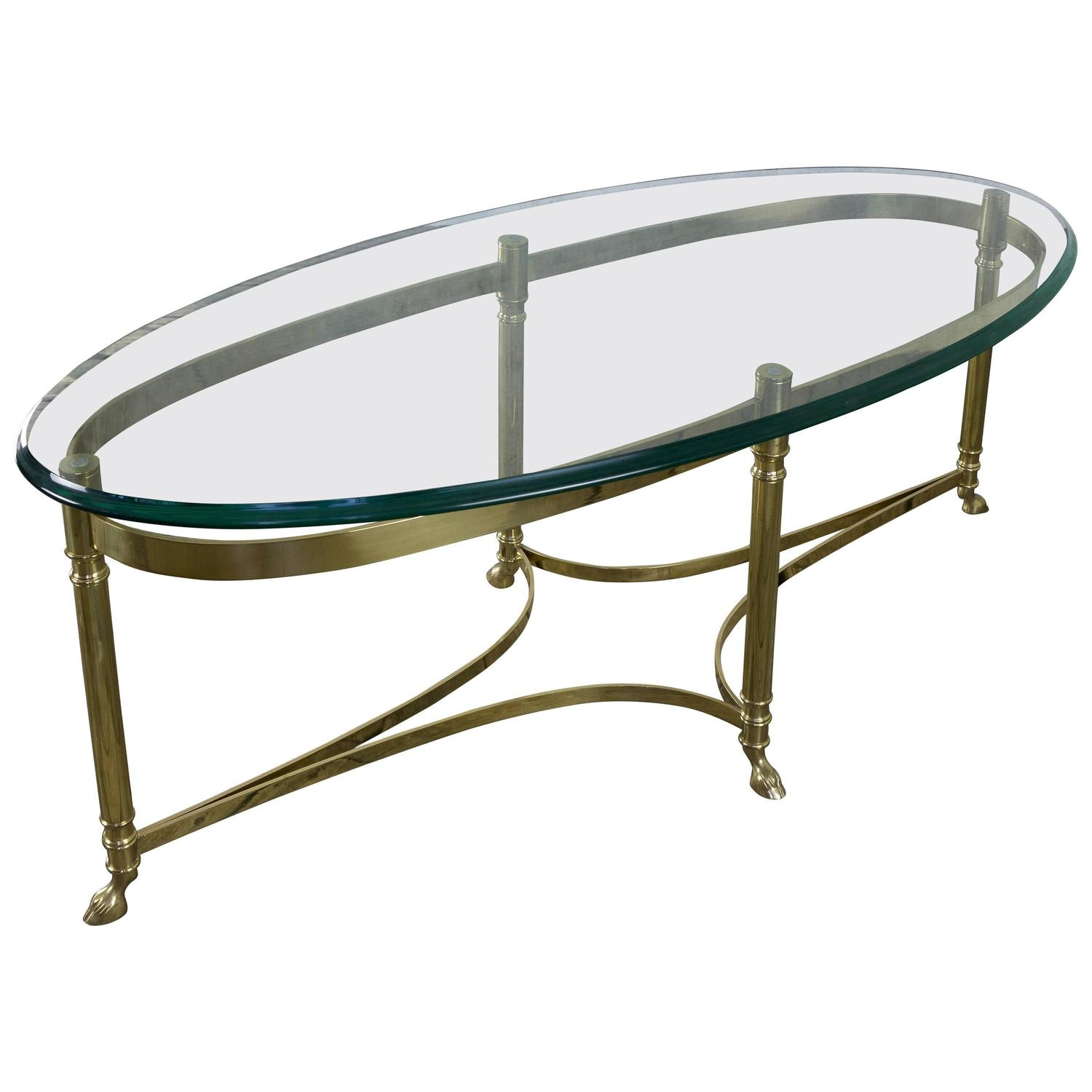 Italian oval brass and glass coffee table 1940s at 1stdibs Glass oval coffee tables