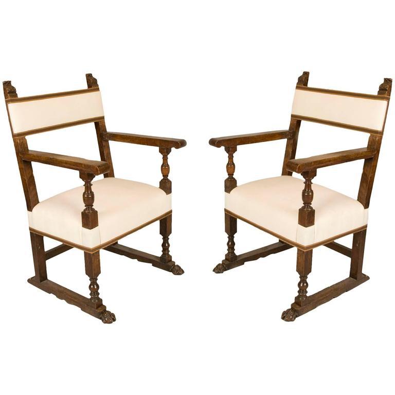 19th century walnut armchairs spanish baroque style new for Spanish baroque furniture