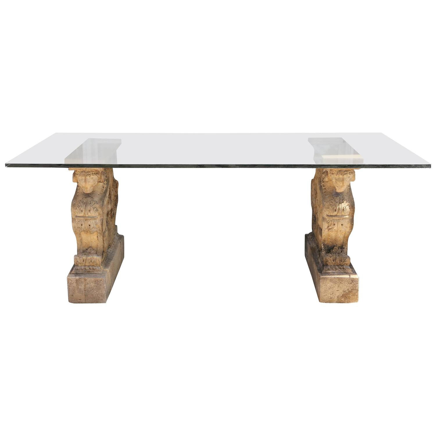 Winged griffin cast stone pedestal dining table with glass - Glass topped dining table ...
