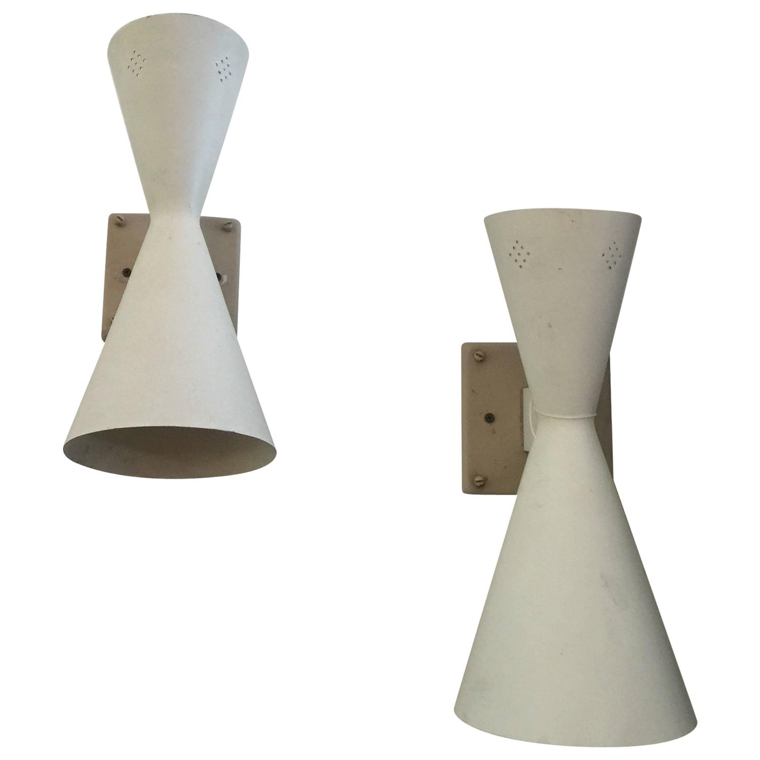 Wall Sconces Mid Century : Mid-Century Double Cone Perforated Wall Sconces at 1stdibs