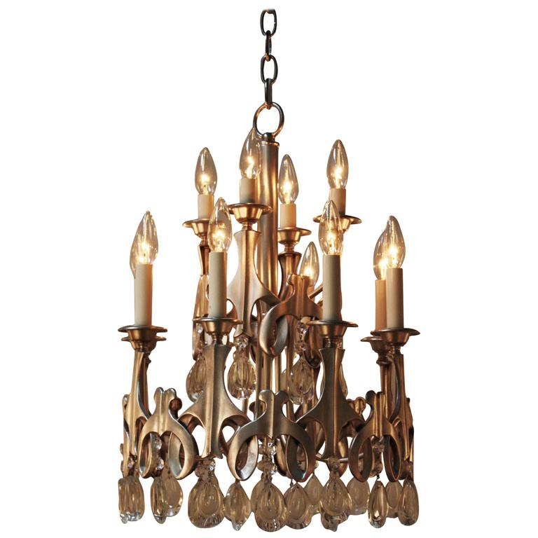 Modern Silver and Crystal Chandelier at 1stdibs