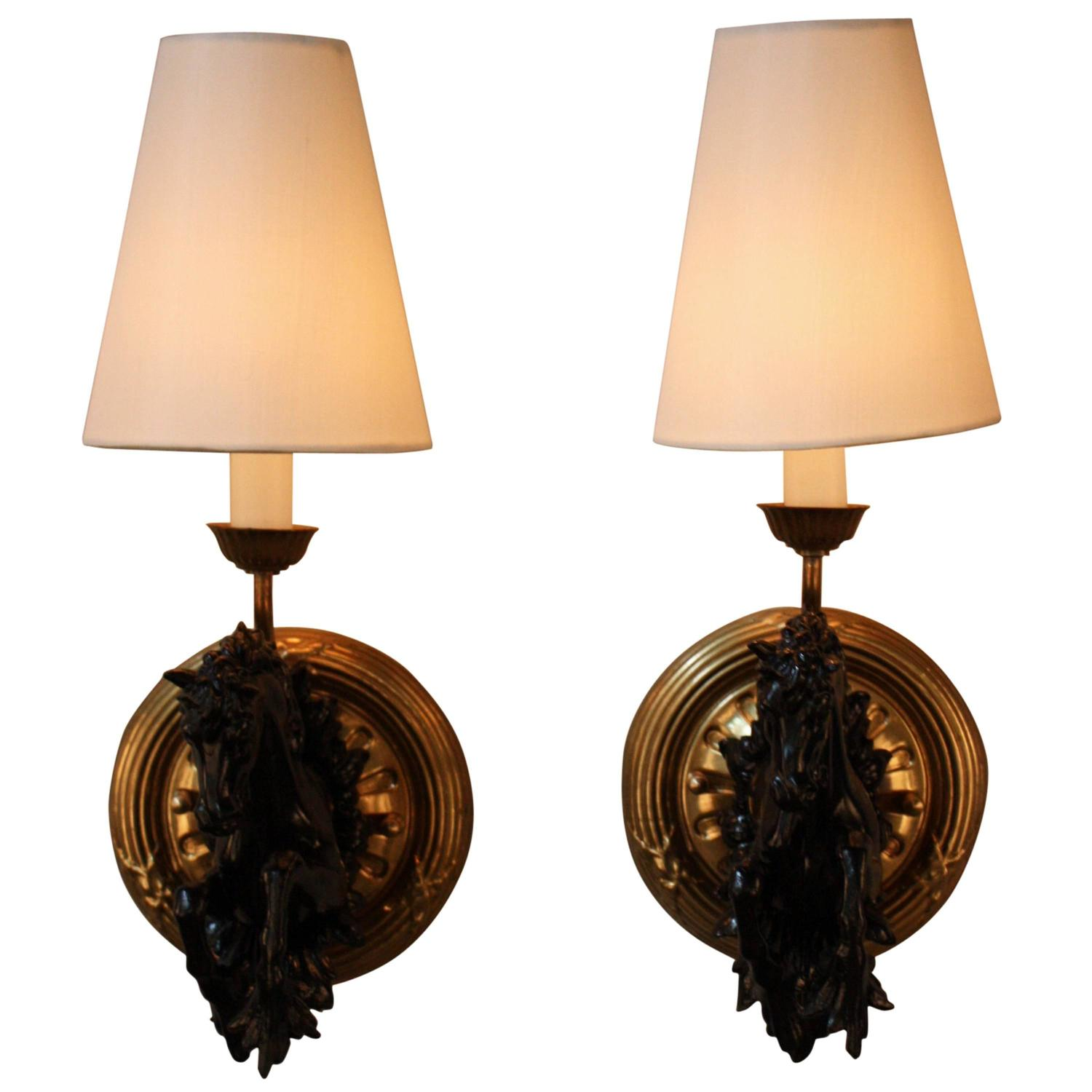 Wall Sconces Equestrian: Pair Of French Running Horse Wall Sconces At 1stdibs