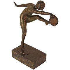 Art Deco Bronze Sculpture of Tambourine Dancer