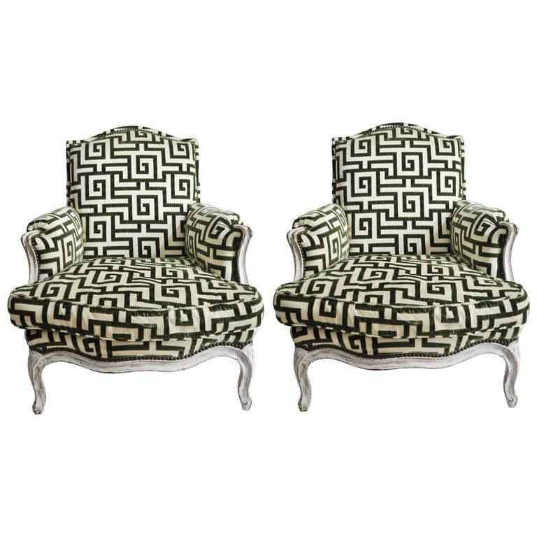Pair of Antique Bergère Chairs in Cut Greek Key Silk Velvet For Sale - Pair Of Antique Bergère Chairs In Cut Greek Key Silk Velvet At 1stdibs