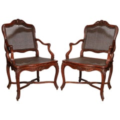 Pair of Regence Caned Fauteuils