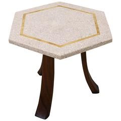 Hexagonal Terrazzo with Brass Inlaid Side Table by Harvey Probber