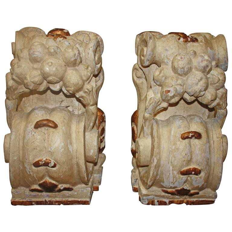 Pair of 18th Century Carved Wall Consoles For Sale