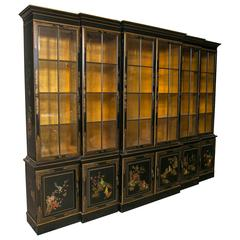George III Style Chinoiserie Decorated Black Japanned Breakfront Bookcase