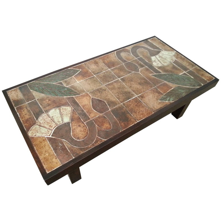 1960s Ceramic Coffee Table, Vallauris, France For Sale