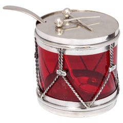 Art Deco Sterling Silver-Mounted Ruby Glass Drum-Form Condiments Jar with Spoon