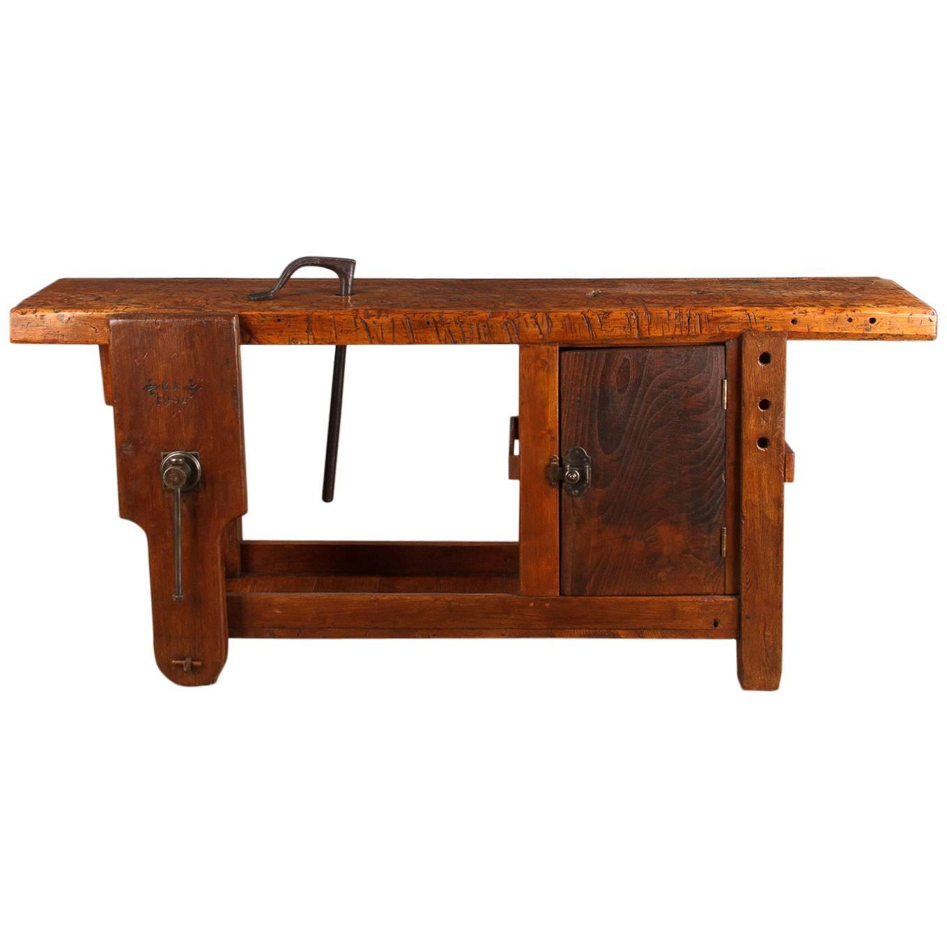 Charmant French Industrial Elm Carpenteru0027s Workbench, Dated 1906 At 1stdibs
