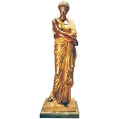 Gilt Bronze Statue of a Maiden by Auguste Marie Barreau