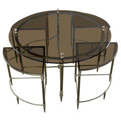 French 1970s Brass Coffee and Nesting Table Ensemble