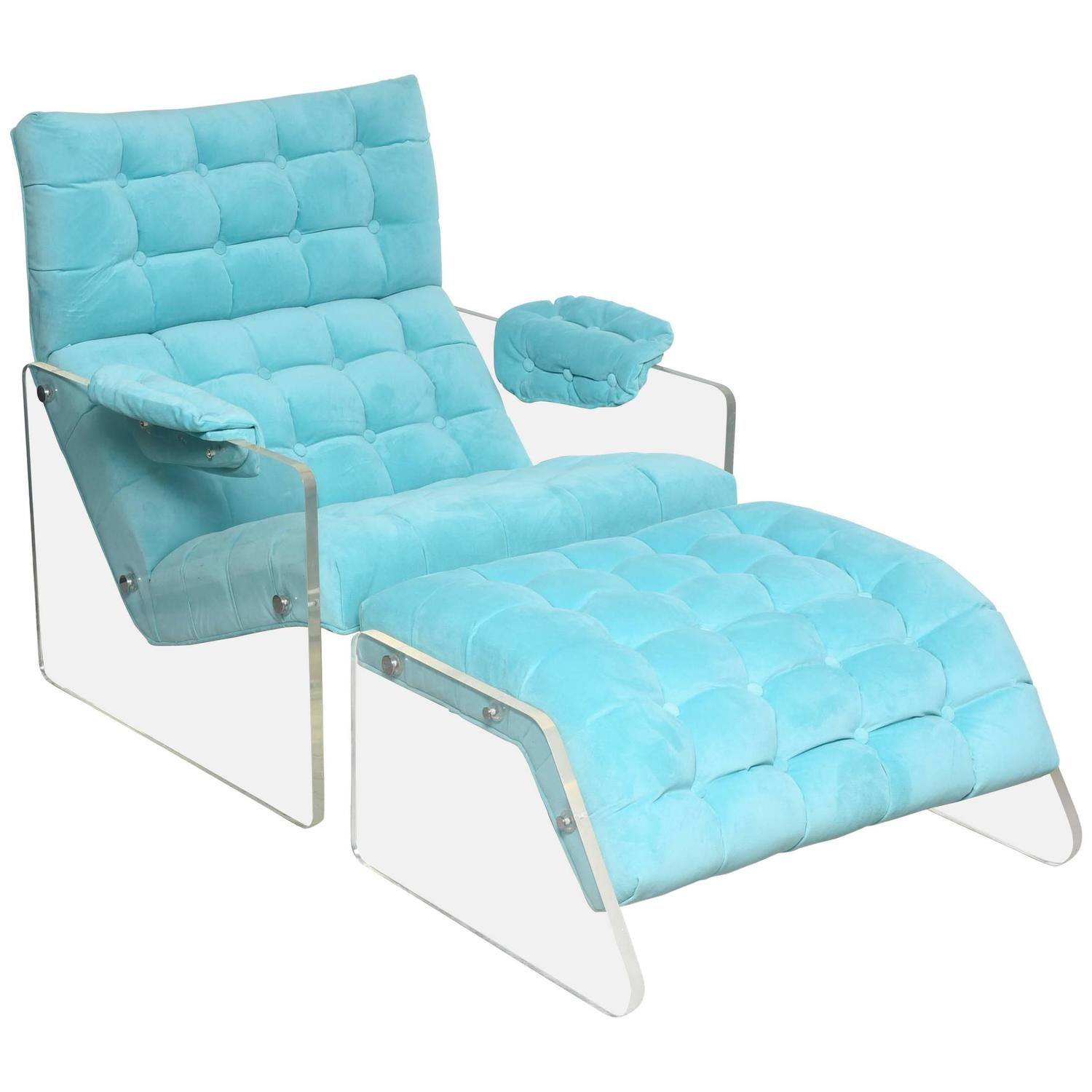Mid century Modern Floating Lucite Lounge Chair and Ottoman Pace