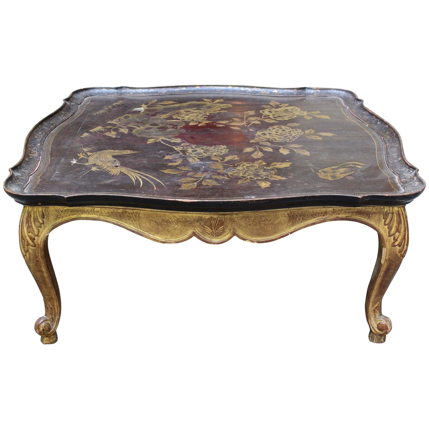 19th Century Napoleon Iii Gilded Chinoiserie Coffee Table With Hand Painted Top At 1stdibs