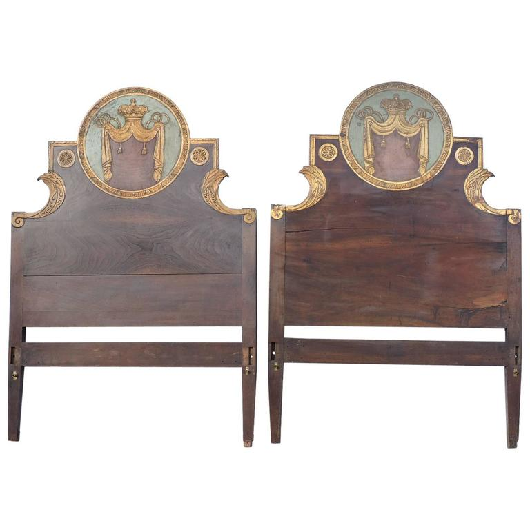 Pair of Antique Carved Painted & Gilded Italian Beds 1