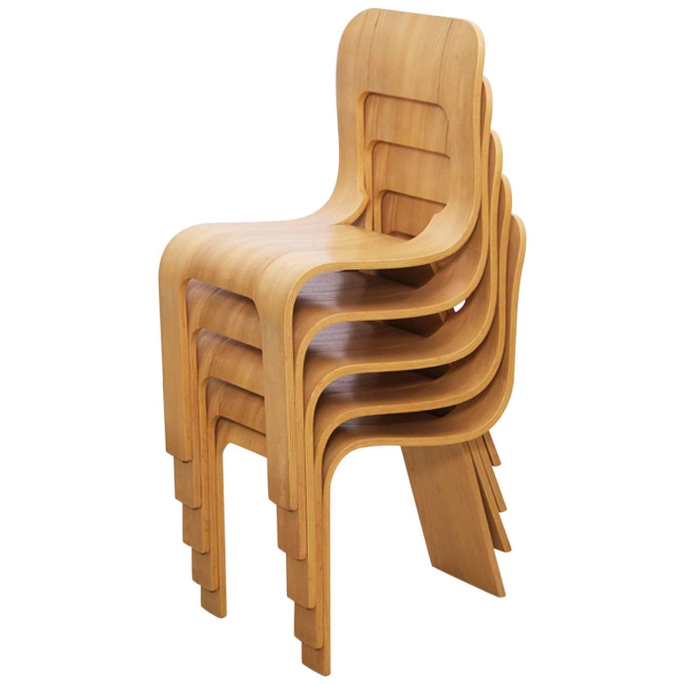 Set Of 5 Stacking Plywood Chairs By Gigi Sabadin For Stilwood Italy 1973  For Sale At 1stdibs