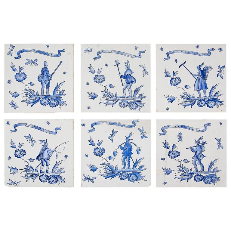 Set of Six Ceramic Tiles by Gio Ponti