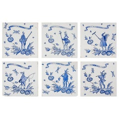 Set of Six Ceramic Tiles by Gio Ponti