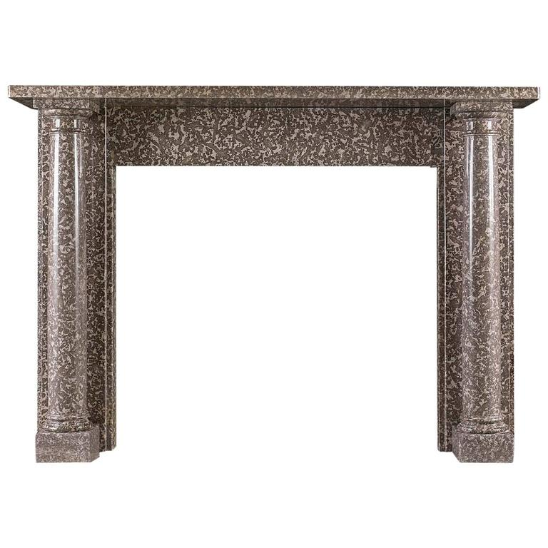 Columned Regency Antique Fireplace in Warm Grey Fossil Marble