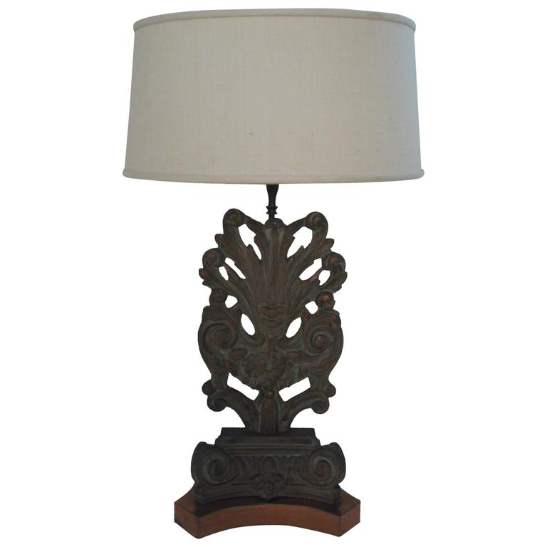 Carved Floral and Scroll James Mont Style Lamp
