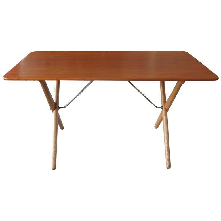 Hans Wegner Occasional Table for Andreas Tuck with Brass Stretchers