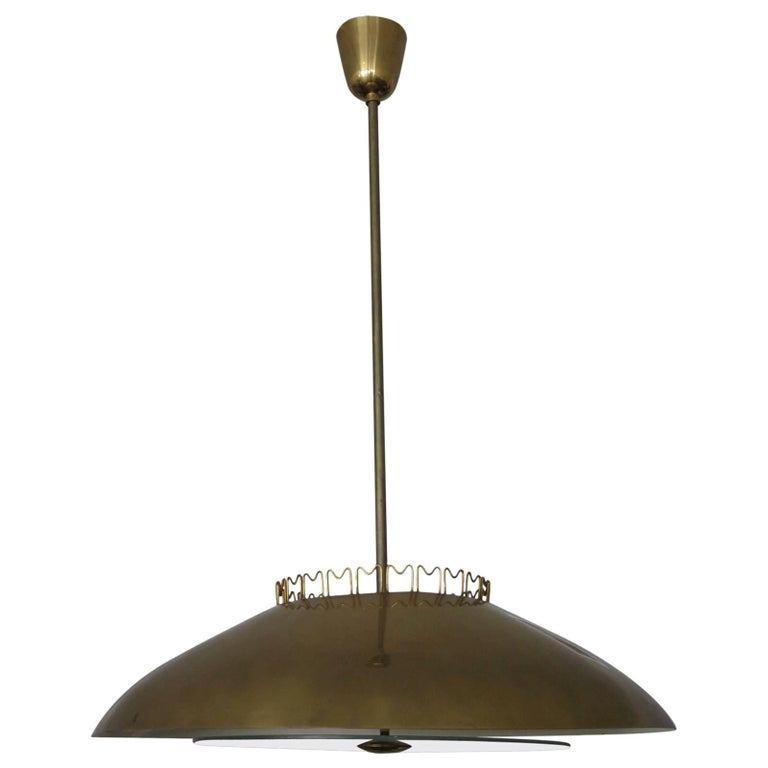 Brass Chandelier by Lisa Johansson-Pape  for Orno, Finland, 1950's. For Sale
