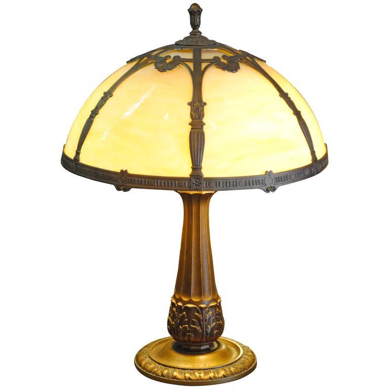 Edward Miller Slag Glass Lamp At 1stdibs