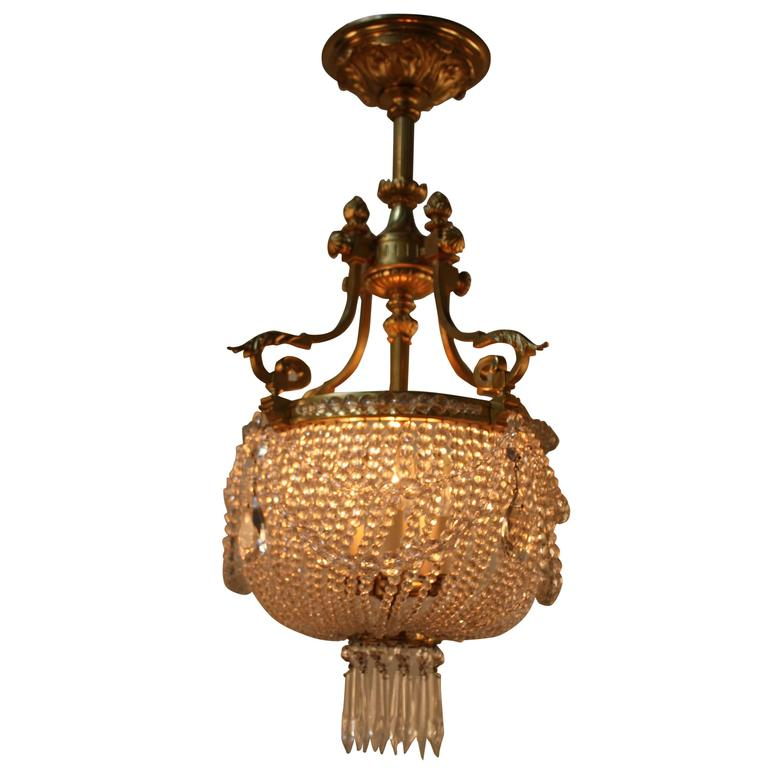 French Beaded Crystal Basket Chandelier At 1stdibs