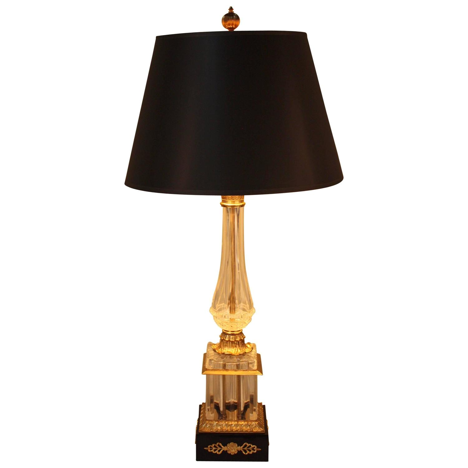 French Empire Style Crystal Table Lamp For Sale at 1stdibs