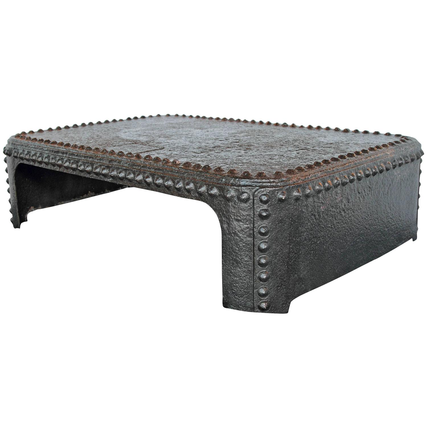 Medieval Style Rivet Galvanized Black Coffee Table At 1stdibs