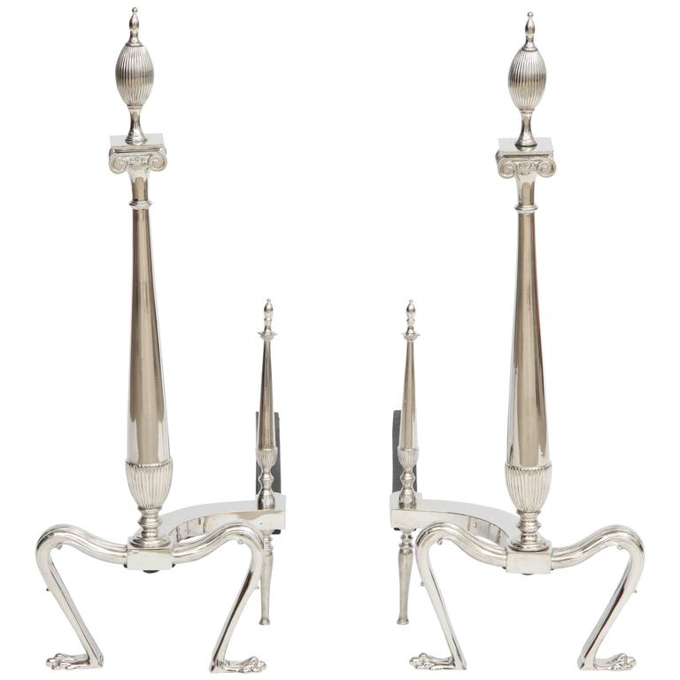 Art Deco Andirons with Fluted Finials
