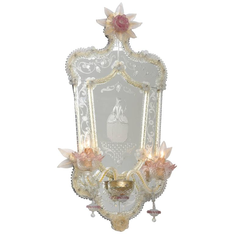 Venetian Wall Sconces : Louis XV Style, Venetian Murano Mirror Wall Sconce, Artist Signed, Italy, 1950s For Sale at 1stdibs