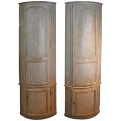 Monumental Pair of French 18th Century Corner Cabinets in Painted Wood