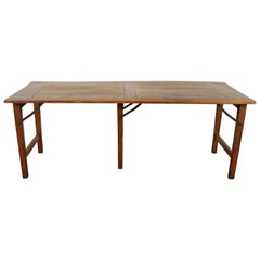 Late 19th Century French Walnut Table with Folding Legs