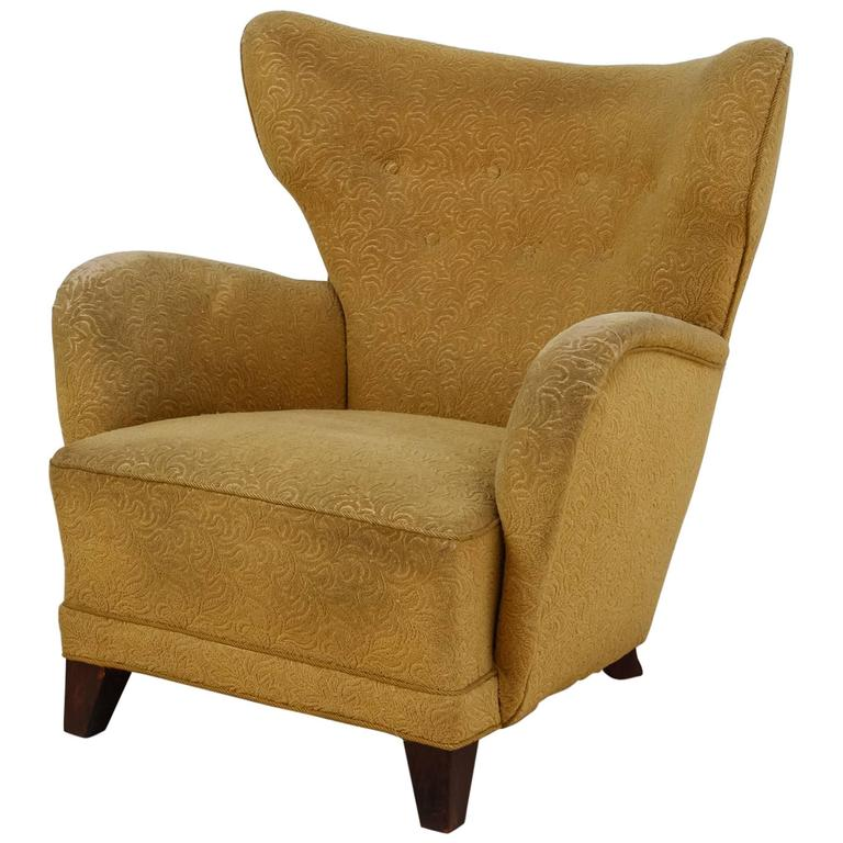 Danish Wingback Lounge Chair with Yellow Upholstery 1940s For Sale at 1stdibs