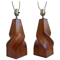 Sculpted Wood Lamps, Midcentury