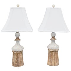 Pair of Gesso and Parcel Gilt Italian Tassel-Form Lamps