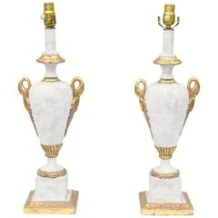 Pair of Gessoed and Parcel Gilt Urn-Form Italian Lamps