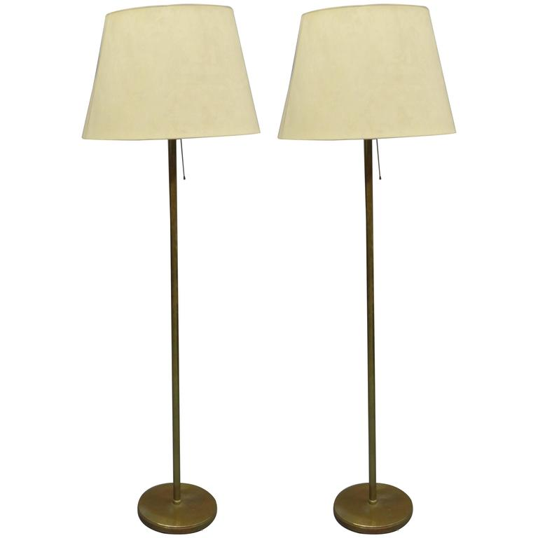 Pair of Large French Mid-Century Modern Brass Floor Lamps Attr. Maison Bagues For Sale
