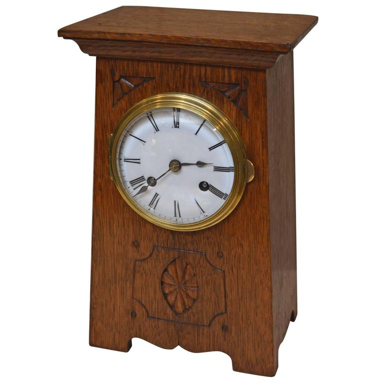 Arts and crafts oak mantel clock at 1stdibs for Arts and crafts clocks for sale