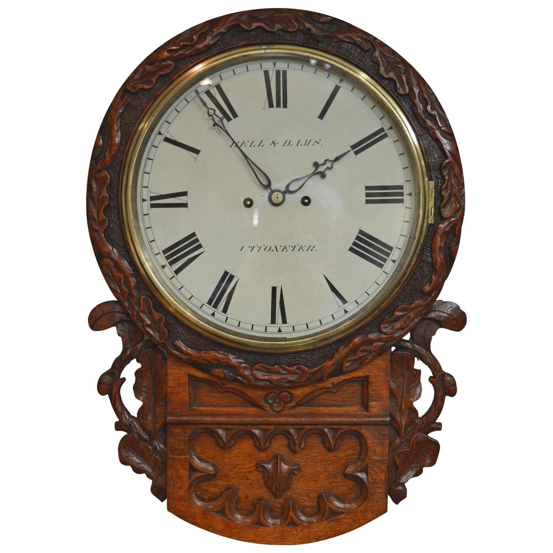 Victorian Oak Striking Drop Dial Wall Clock At 1stdibs
