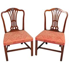Pair of George III Period Mahogany Side Chairs in the Hepplewhite Style