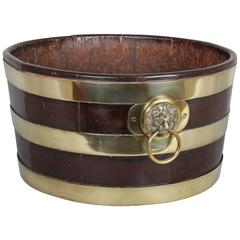 George III Period Mahogany and Brass-Banded Circular Wine Cooler