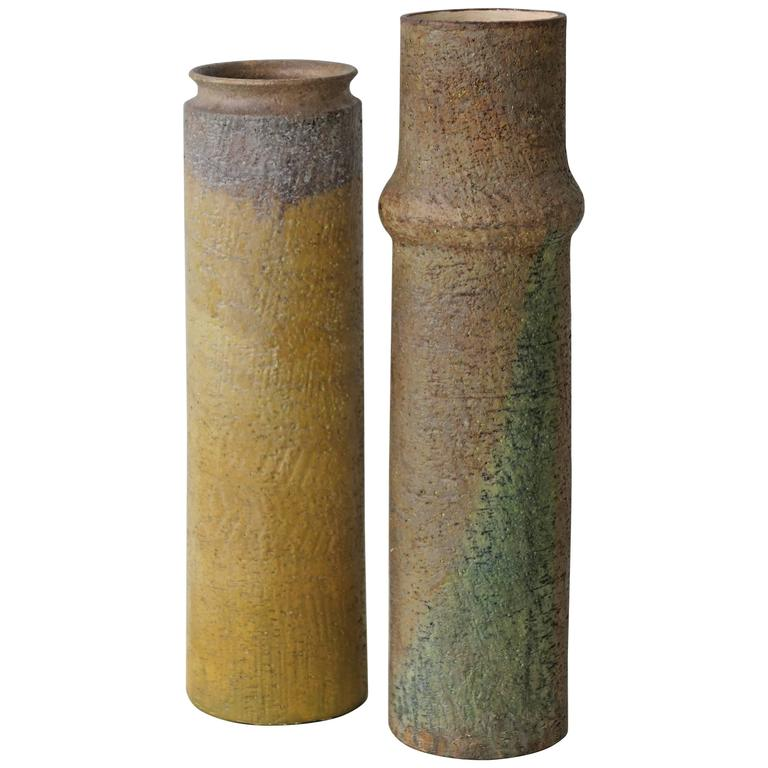 Matched Pair of Ceramic Vases by Marcello Fantoni